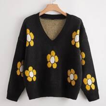 Pullover mit Blumen Muster, V-Kragen und sehr tief angesetzter Schulterpartie