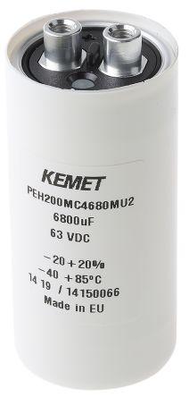 KEMET 6800μF Electrolytic Capacitor 63V dc, Screw Mount - PEH200MC4680MU2