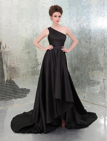 Milanoo Vestidos de fiesta largos Vestido de Premios Emmy de tafetan con escote a un solo hombro y faja