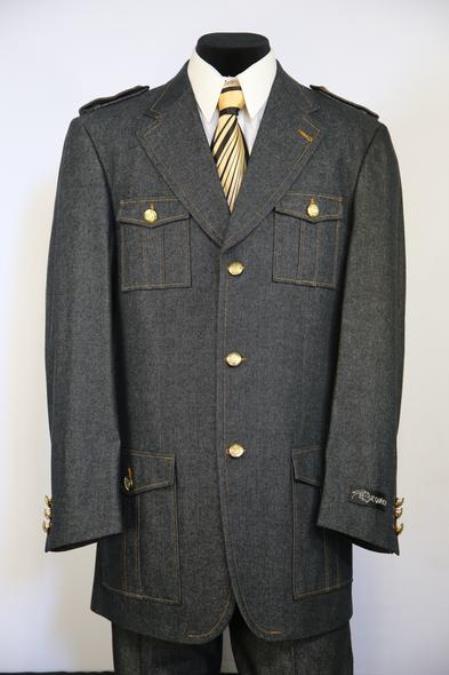 Mens Button Fastening Flap Pocket Black Zoot Suit