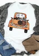Halloween Pumpkin Trick Or Treat T-Shirt Tee - White