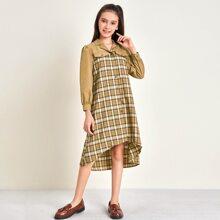 Hemdkleid mit eingekerbtem Kragen, Stufensaum und Karo Muster