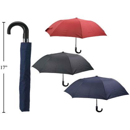 Folding Umbrella Automatic Open Umbrella Steel Shaft Crook Handle, 1 Randomized Color Per Pack