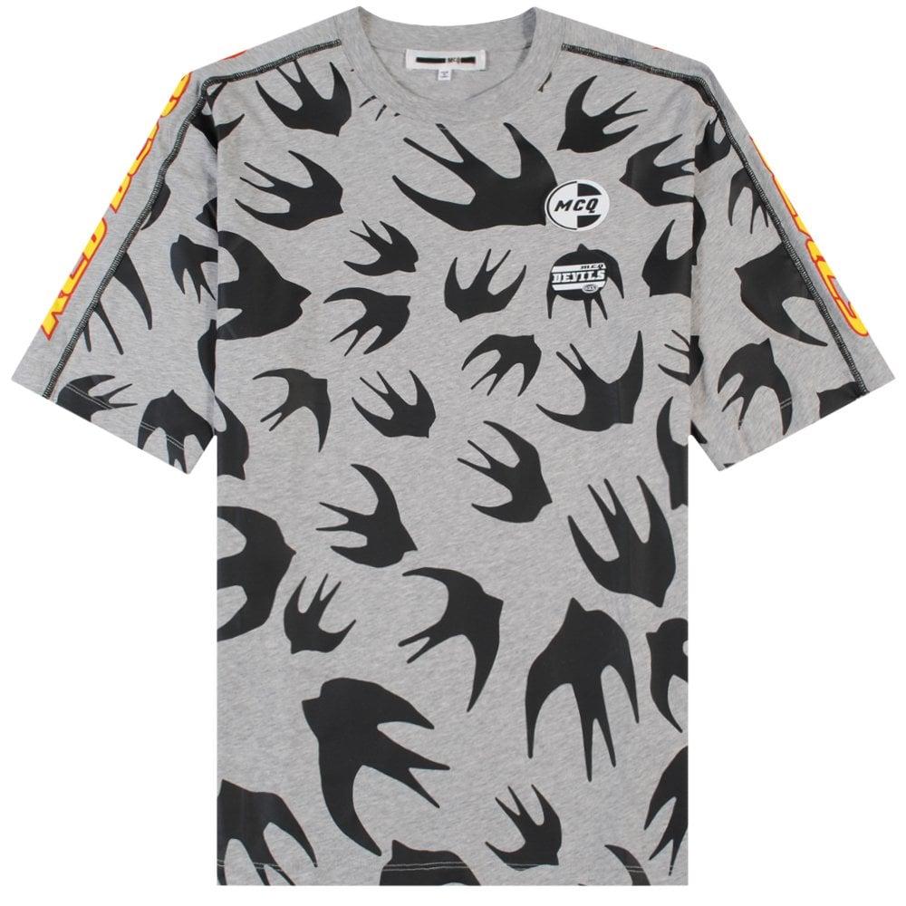 McQ Alexander McQueen Multi Bird Logo T-shirt Grey Colour: GREY, Size: LARGE