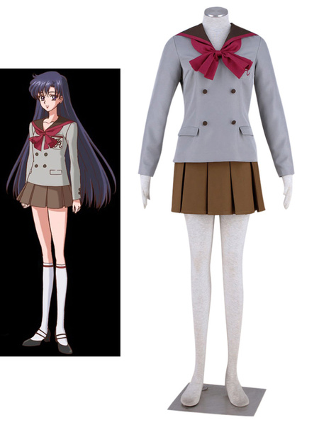 Milanoo Sailor Moon Crystal Sailor Mars Halloween Cosplay Costume Hino Rei School Uniform Halloween