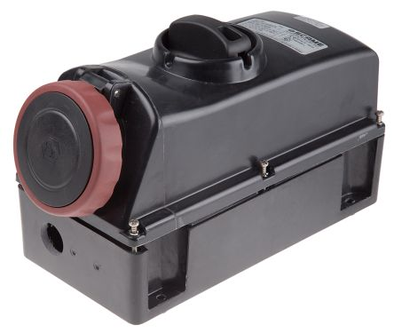 RS PRO IP66 Red Surface Mount 3P+N+E Power Connector Socket ATEX, IECEx, Rated At 16.0A, 346 → 415 V