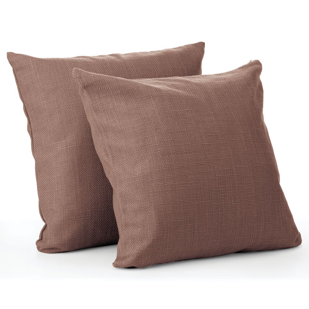 mDesign Decorative Faux Linen Pillow Case Cover, Pack of in Chocolate