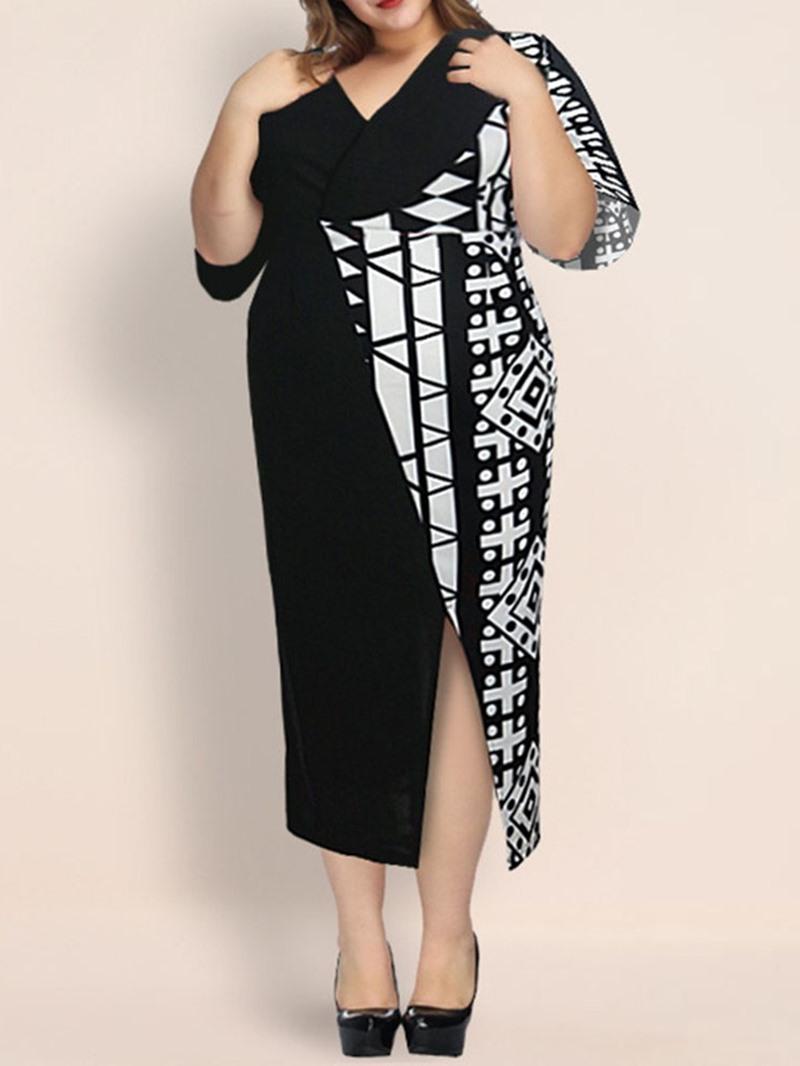 Ericdress Split Mid-Calf Half Sleeve PlusSize Pullover Dress