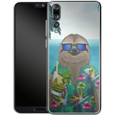 Huawei P20 Pro Silikon Handyhuelle - Summer Sloth Drinking Mojito von Barruf