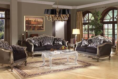 Chantelle Collection  51540SLC 3 PC Living Room Set with Sofa  Loveseat and Chair in Antique Platinum