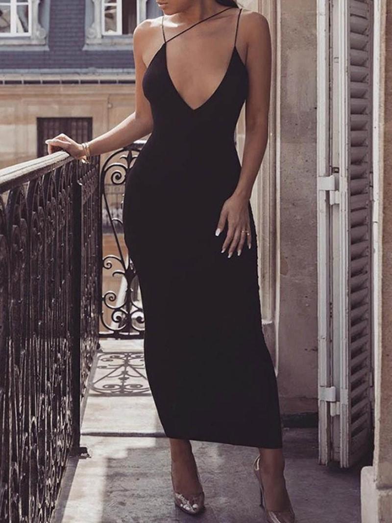 Ericdress V-Neck Sleeveless Backless Plain Sexy Dress