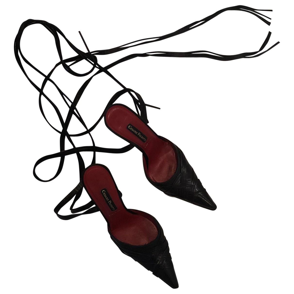Cesare Paciotti \N Black Leather Heels for Women 37 EU
