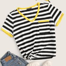 Contrast Binding Pocket Patched Striped Tee
