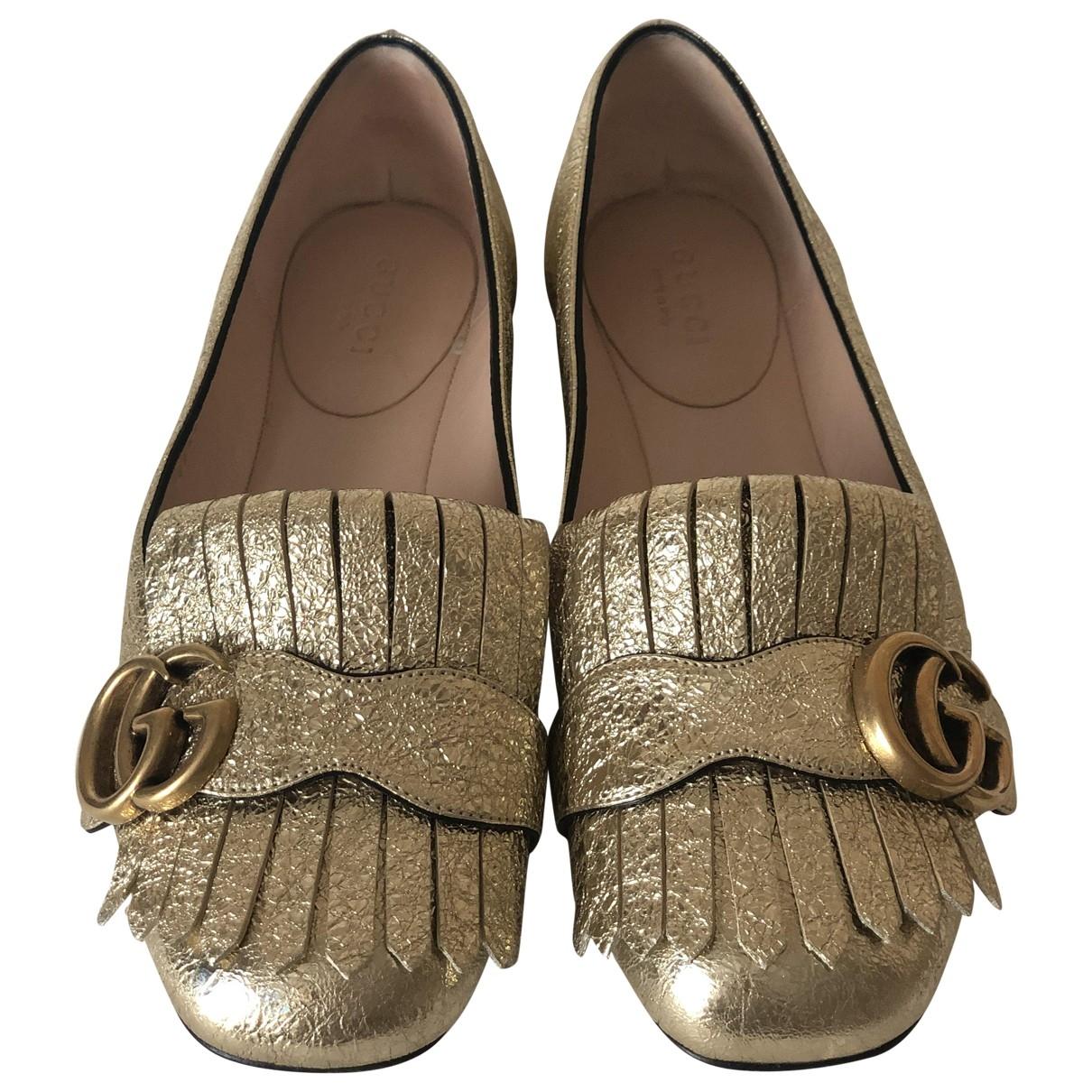 Gucci Marmont Ballerinas in  Gold Leder