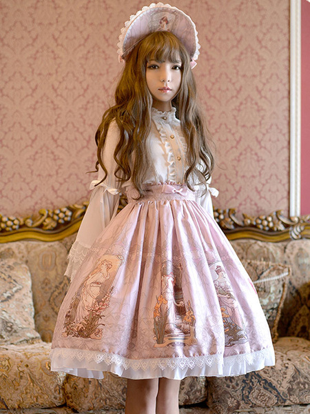 Milanoo Sweet Lolita Dress SK Green Cotton Printed Pleated Ruffle Lolita Skirt Original Design