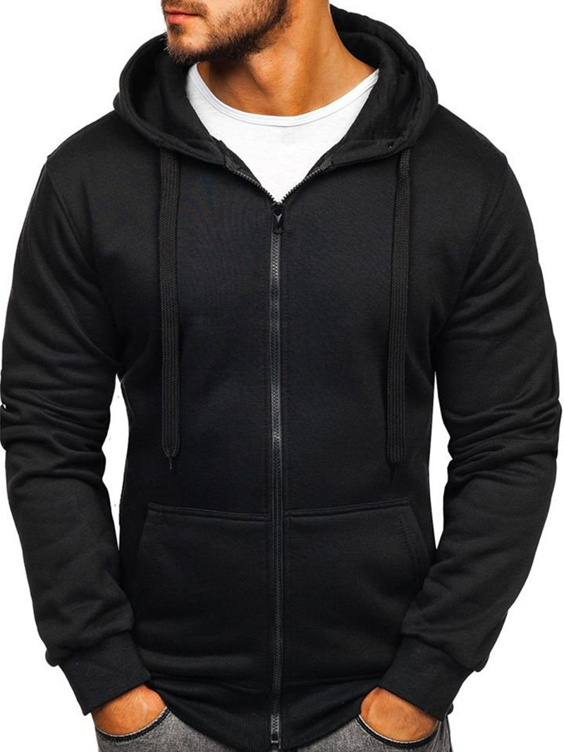 Ericdress Plain Pocket Cardigan Zipper Hooded Hoodies