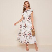 Kleid mit Blumen Muster, Raffungsaum und Guertel