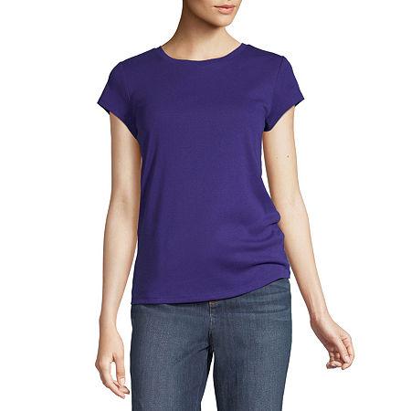 Liz Claiborne-Womens Crew Neck Short Sleeve T-Shirt, Large , Purple