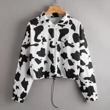 Sweatshirt mit halber Reissverschlussleiste, Kordelzug am Saum und Kuh Muster