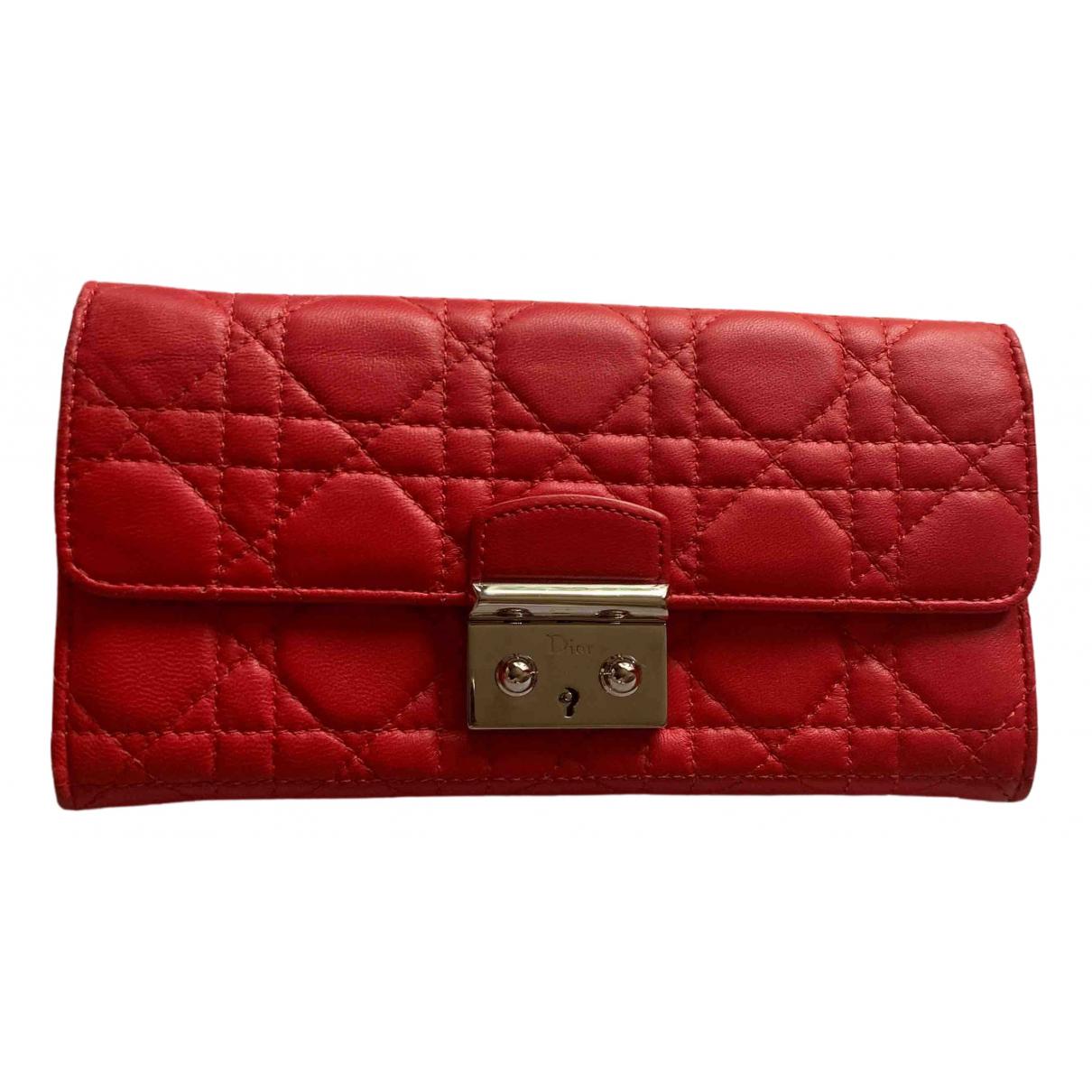 Dior - Portefeuille Miss Dior pour femme en cuir - rouge