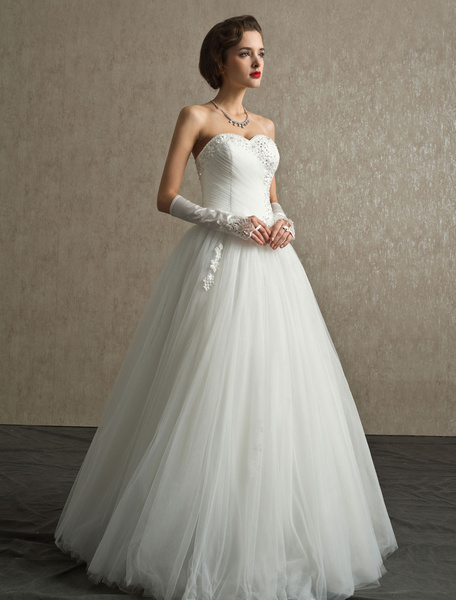 Milanoo Rhinestone A-line Floor-Length Ivory Wedding Dress with Sweetheart Strapless Neck