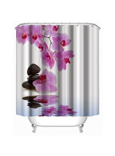 3D Purple Flowers and Stones Polyester Waterproof Antibacterial and Eco-friendly Shower Curtain