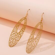 Hollow Out Oval Charm Drop Earrings