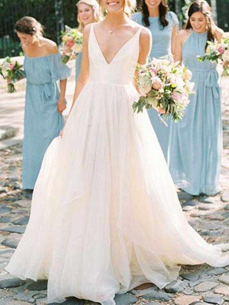 Ericdress V-Neck Long Beach Wedding Dress