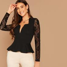 Notch Neck Sheer Lace Sleeve Peplum Top
