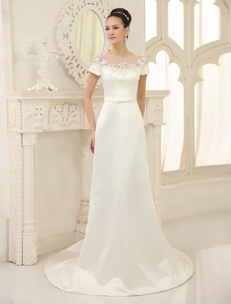 Milanoo Ivory Sheath Jewel Neck Bow Court Train Satin Wedding Dress For Bride