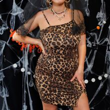 Plus Split Hem Leopard Dress