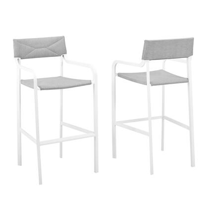 Raleigh Collection EEI-3963-WHI-GRY Outdoor Patio Aluminum Bar Stool Set of 2 with All-Weather Upholstered Fabric  Powder-Coated Aluminum Frame and