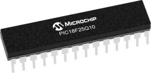 Microchip PIC18F25Q10-I/SP, 8bit Microcontroller, PIC18F25Q10, 64MHz, 32 kB Flash, 28-Pin SPDIP (15)