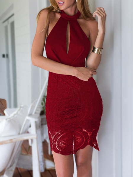 Yoins Burgundy Crochet Lace Insert Halter Neck Sleeveless Mini Dress