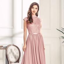 Mock Neck Lace Bodice Zip Back Prom Dress