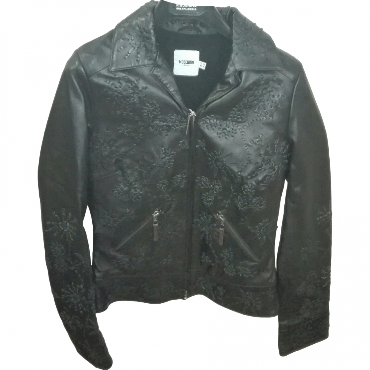Moschino Love \N Black Leather Leather jacket for Women 42 IT