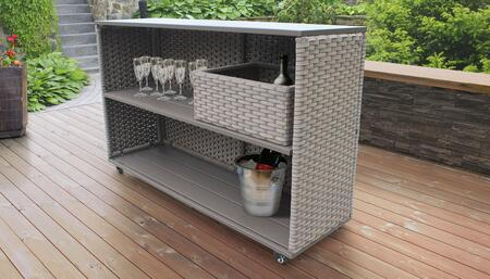 Florence Collection FLORENCE-CART-BSKT Bar Cart with Basket Wicker Patio