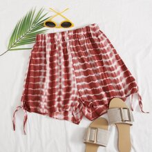 Batik Shorts mit elastischer Taille und Knoten