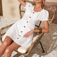 Schiffy Kleid mit Rueschen und Knopfen vorn