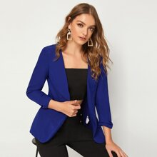 Open Front Solid Blazer