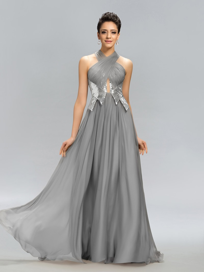 Ericdress Charming Ruched Sequins A-Line Evening Dress