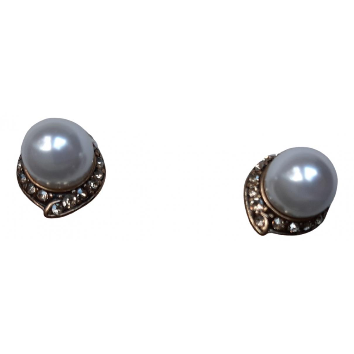 Oscar De La Renta \N White Metal Earrings for Women \N