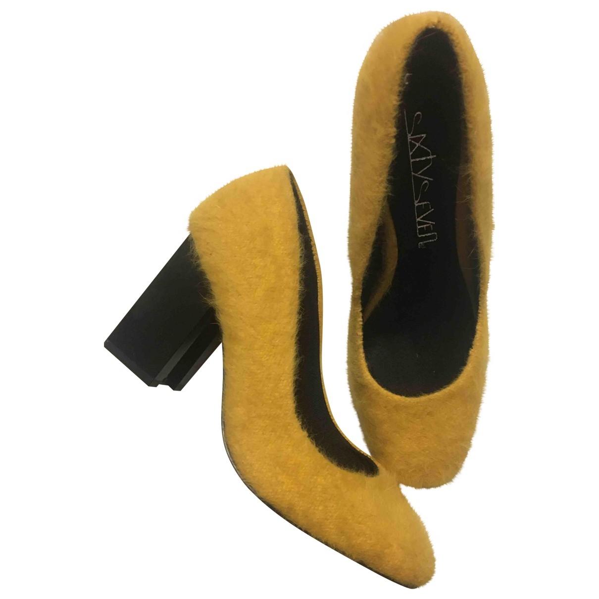 - Escarpins   pour femme en fourrure synthetique - jaune