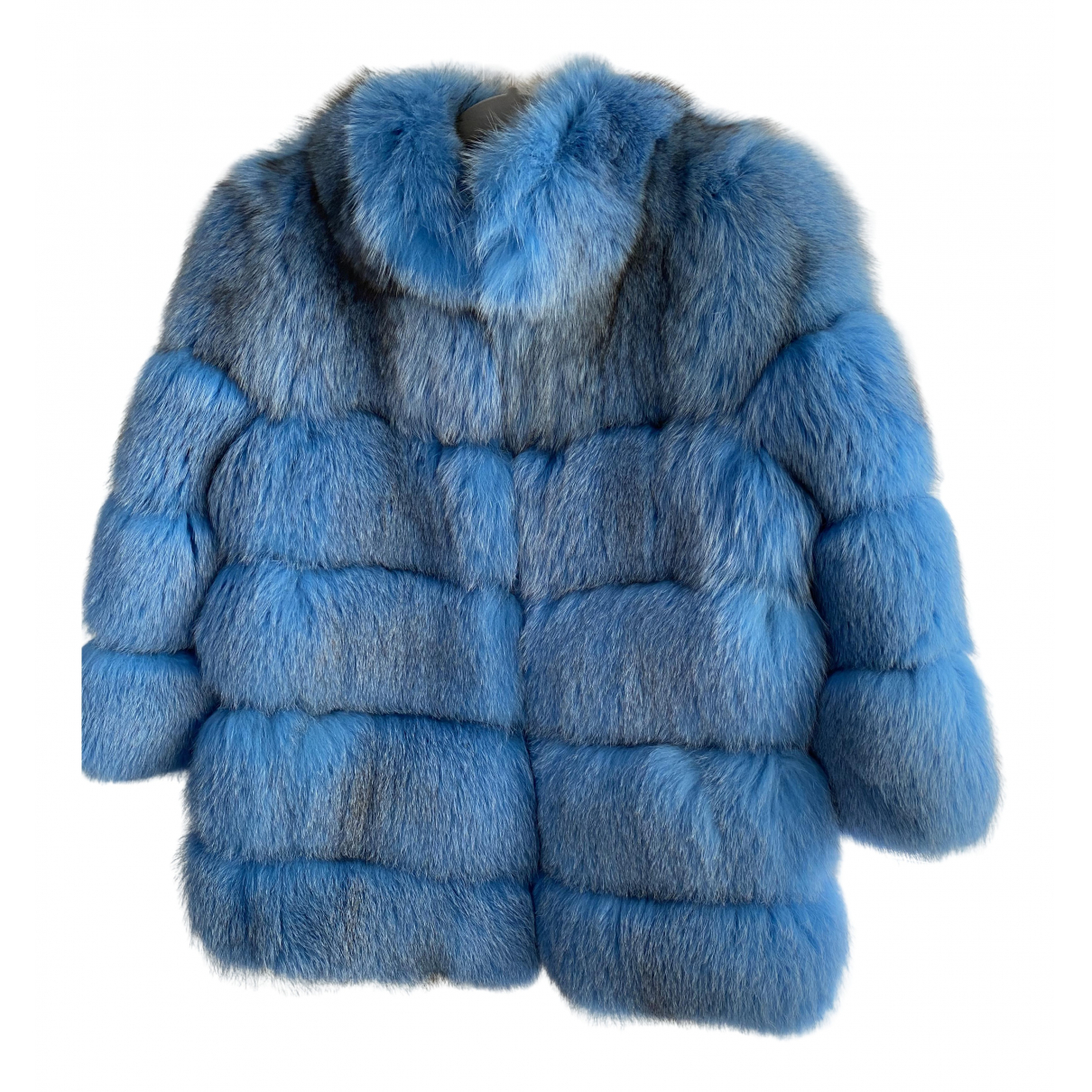 - Manteau   pour femme en renard - bleu