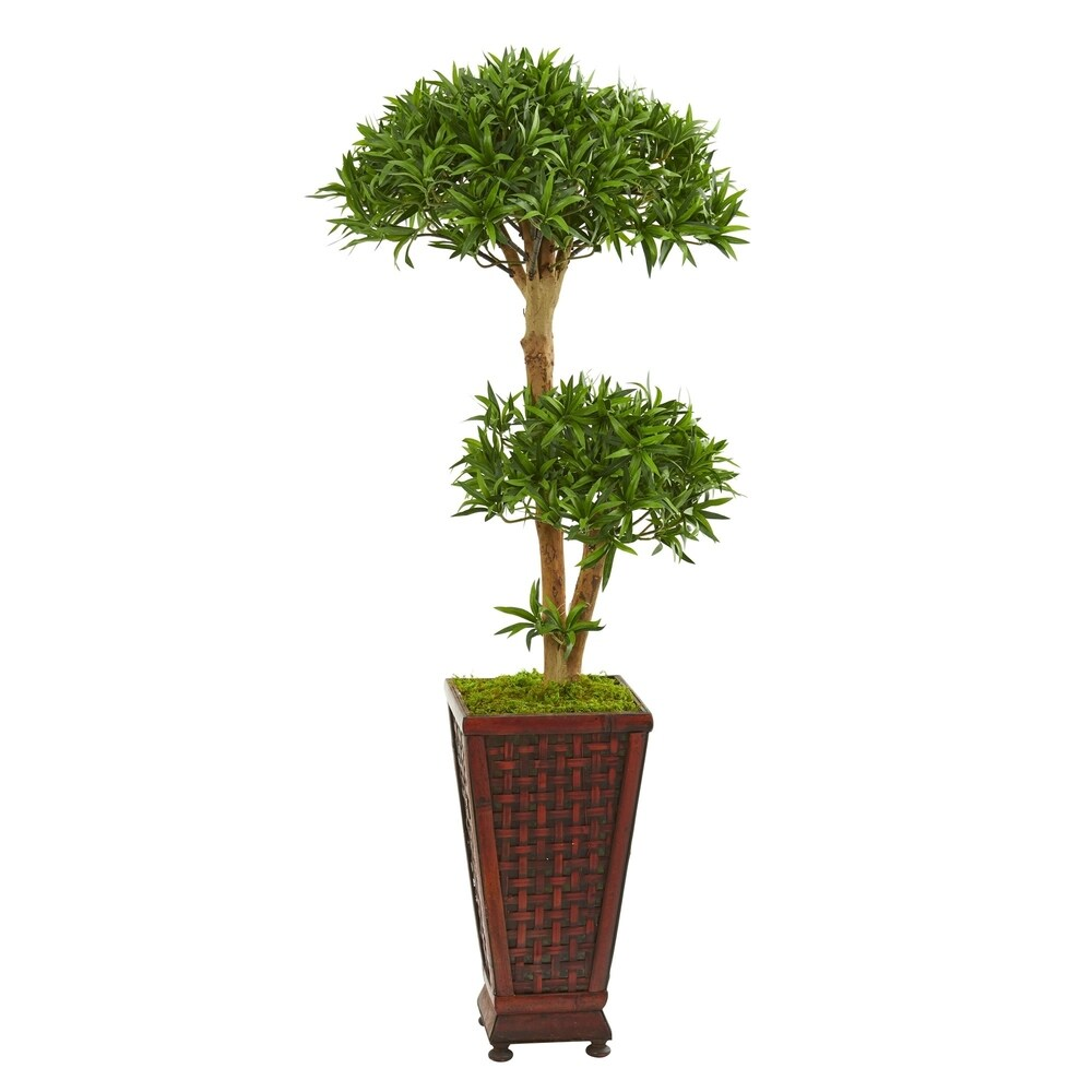 Nearly Natural Bonsai-styled Podocarpus 4-foot Artificial Tree in Decorative Planter
