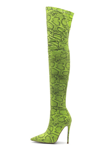 Milanoo Thigh High Boots Womens Polyster Snake Print Pointed Toe Stiletto Heel Over The Knee Boots