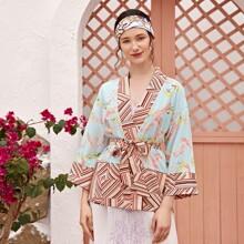 Tropical & Geo Print Belted Kimono