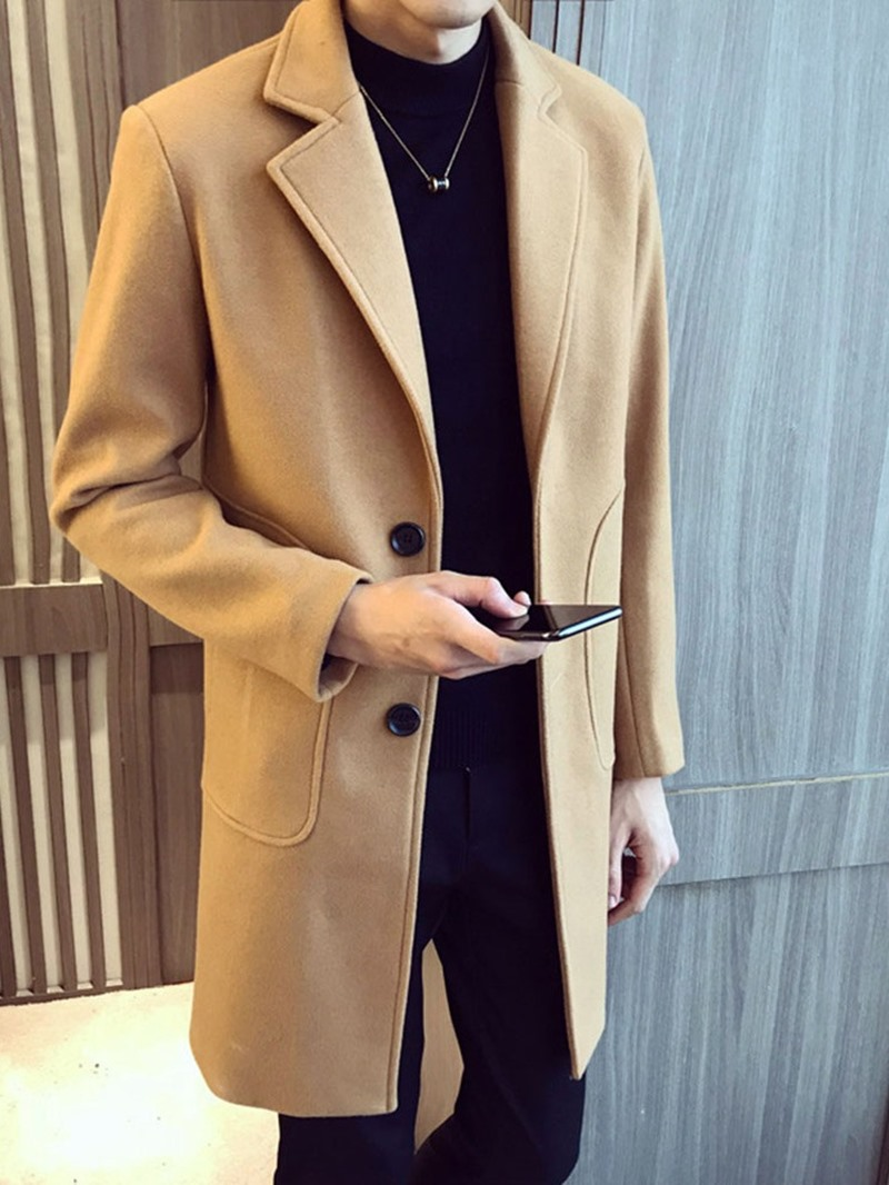 Ericdress Button Mid-Length Plain Color Single-Breasted A Line Coat