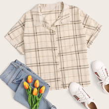 Plus Plaid Rolled Cuff Button Up Blouse
