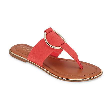 Liz Claiborne Womens Calayan Flat Sandals, 6 Medium, Orange